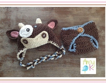 Baby Boy Cow Hat, Diaper Cover, Baby Boy Hats, Crochet Baby Boy hats, Hat and Diaper cover set