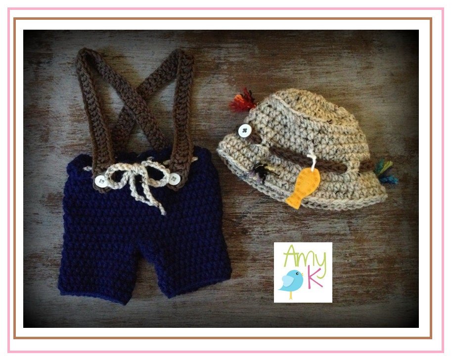 Baby Boy Fishing Set Crochet Fishing Hat Baby Boy Hats by ...
