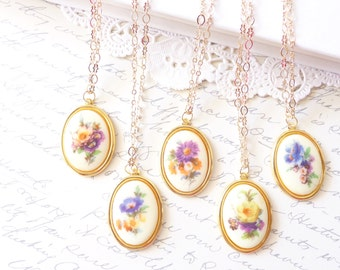 Bridesmaid Necklace Set - Vintage Flower Limoges Necklace -  Flower Hair Pin Set -  Gold - Whimsy - Bridal - Bridesmaid - Flower Necklace