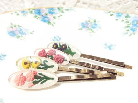 Vintage Intaglio Flower Hair Pins - Bobby Pins - Whimsy - Garden - Bridal - Bridesmaid