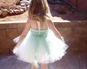 Flower Girl Dresses, Tutu Dress, Mint Green Tulle, Mint Satin Ribbon, Pink Rose, Flowergirl Dress, Portrait Dress, Wedding Flower Girl Dress