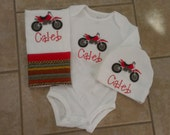 This is a reserved listing for an Appliqued Dirt Bike Onesie Personalized