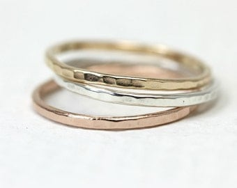 Set of 3 stacking rings in sterling silver and 14Kt yellow and rose gold, skinny hammered rings