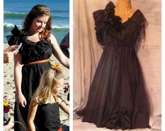 Black Ruffle Dress Tea Length Noir Patisserie French Pastry Night Wedding Custom Tattered Womens