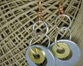 2 Little washers earrings, washer earrings, brass washer earrings, tri metal earrings, dangle earrings