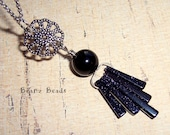 Midnight Sky. Blue Goldstone and Black Obsidian Silver Starburst Pendant Necklace