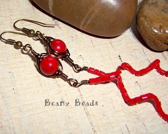 Snake Charmer Earrings. Bright Red Coral and Brass Wrapped Spiral Dangle Tribal Gypsy Earrings
