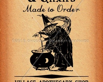 Vintage Halloween Witch Clip Art Printable Collage Scrapbook Image Sheet Philters, Brews, Elixirs INSTANT DOWNLOAD