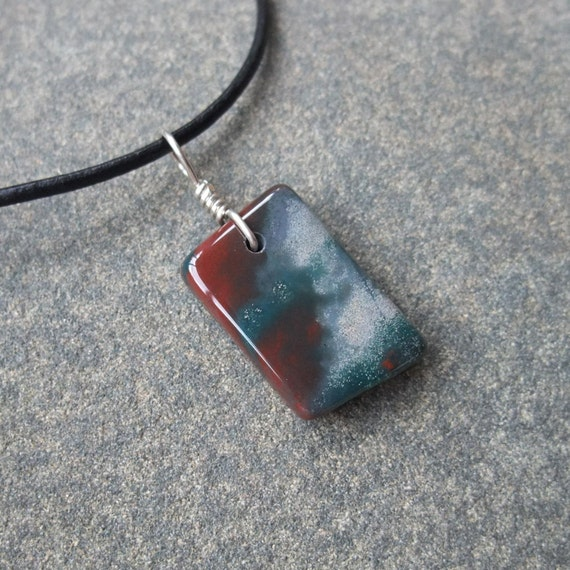 Bloodstone Heliotrope pendant necklace natural stone jewelry