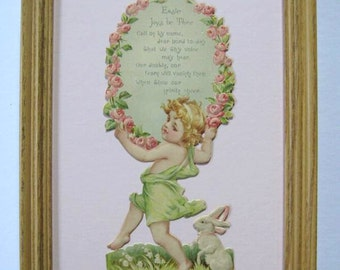 Vintage Easter Decor Easter Card Rose Wreath & Rabbit 1920's Framed