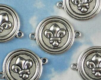 12 Fleur de Lis Round Connector Links Silver 19mm Rd Great for Bracelets (P873)