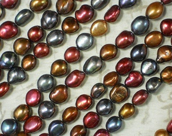 Autumn Pearls Colorwave in Dark Silver Gold and Candy Apple Red - 15 Inches Freshwater (4204)