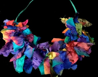 Silk necklace, silk scraps necklace, boho chic