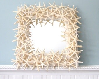 Beach Decor Starfish Mirror -  Nautical Decor Shell Mirror - White Starfish Seashell Mirror