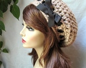 Taupe color Crochet Slouchy Beret, Woman Hat, Ribbon, Chunky, Teens, Winter, Birthday Gifts, Gifts for Her, JE368BTR2