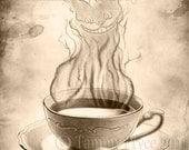 Tea Time Vintage Cheshire Cat  8x10 Fantasy Fine Art Print