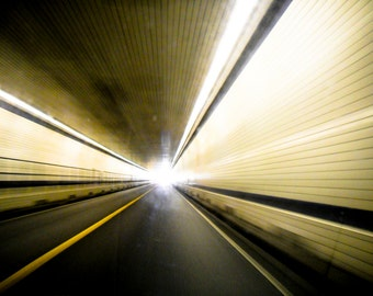 Photograph Abstract Yellow and Black Lines Inside with Light at the End of Tunnel Road Highway Driving Art Print Home Decor