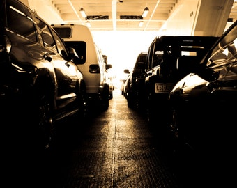 Photograph Masculine Sepia Automobile Cars Parked in Line on Ferry Boat Office Man Cave Bachelor Pad Fine Wall Art Print Home Decor