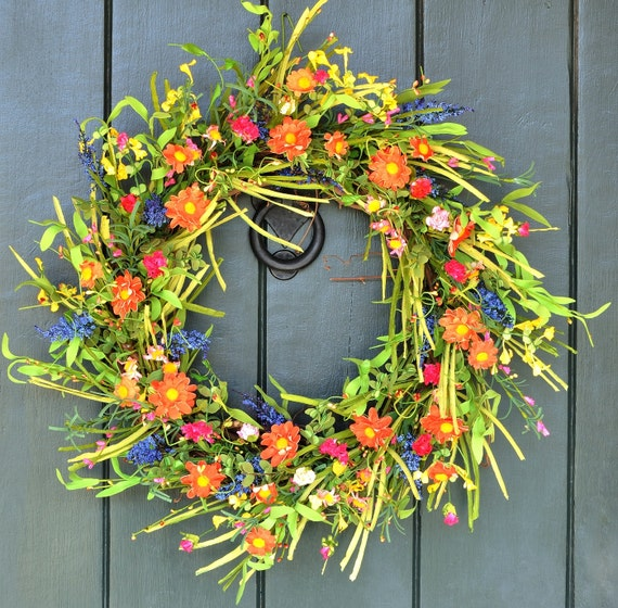 Wildflower Meadow - Meadowflower Wreath, Summer Wreath, Summer Decor, Wildflower Wreath, Party Decor