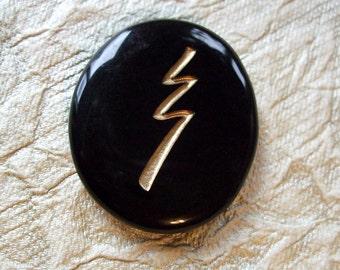 Reiki Stones - Raku grounding symbol - Pocket intention crystal Black Obsidian