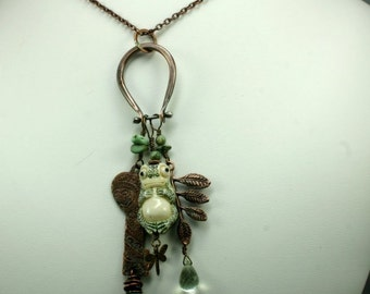 Copper Frog and Charm Necklace