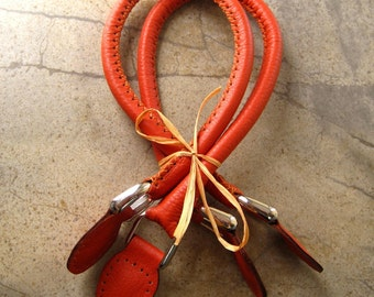Handmade Leather Bag Handles - Pumpkin Color