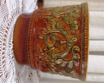 Vintage Haeger Flower Pot Art Pottery Scroll Chestnut Brown Green No 1 1960s