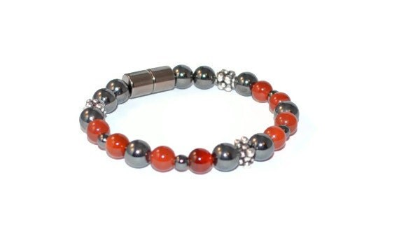 Magnetic Hematite Bracelet w/ Carnelian, Magnetic Jewelry, Healing Bracelet, Good Health Jewelry, Handmade Jewelry, Gemstone Bracelet