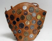 embellished leather purse / coin studded purse / 80s 1980s avant garde leather purse / vintage purse