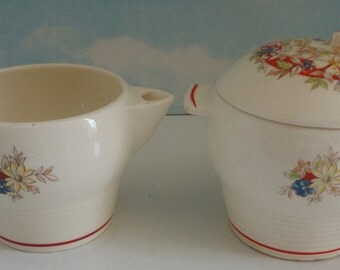 TRIUMPH- LIMOGES.- La Hour. Creamer and Sugar Container. Made in USA. American Limoges