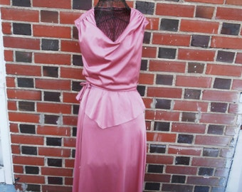 ON SALE VIntage 1970s Dusty Rose Mauve Party Dress Shimmery Pink Sleeveless Fancy Dress M/L