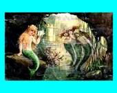 s468 Vintage Victorian Mermaids Merbabies Postcard Fabric Blocks for Quilting.
