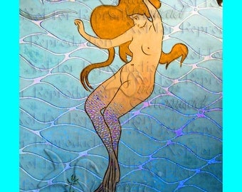 ART NOUVEAU MERMAID Mural Fabric Block Mermaid Panel Diy for Quilting s492.