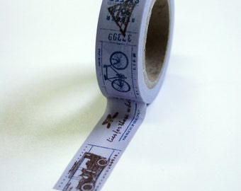 Washi Tape - 15mm - Brown Vintage Illustrations on Lavender - Deco Paper Tape no. 590