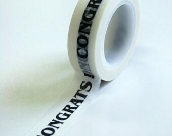 Washi Tape - 15mm - CONGRATS Black on White - Deco Paper Tape No. 586