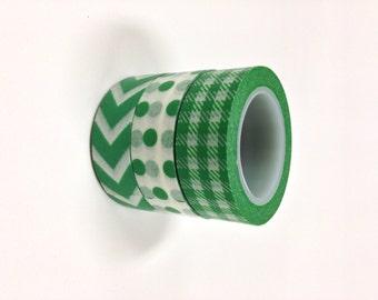 Washi Tape Set - 15mm - St Patrick's Green - Three Rolls Washi Tape no. 639/640/94