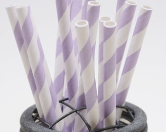 25 Lilac Stripe Paper Straws - Perfect for Parties - Favors--Free Editable DIY Tags PDF
