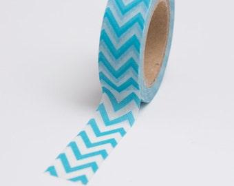 Washi Tape - 15mm - Blue Chevron - Deco Paper Tape No. 717