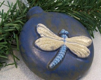 Ceramic Dragonfly Christmas Ornament