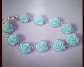 The Madeline Bracelet...Tiny Roses in Aqua Blue, Adult size,  many colors available, FREE MATCHING EARRINGS