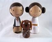 Kokeshi Princess Leia Han Solo Chewbacca Dog Peg Doll collectable