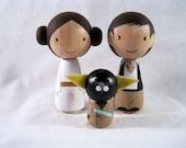 Kokeshi Princess Leia Han Solo Yoda Cat Peg Doll collectable