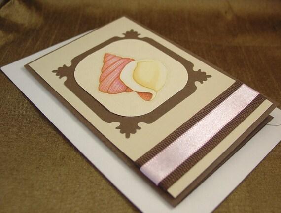 items similar to sale pink shell gift card holder blank inside 64 off on etsy. Black Bedroom Furniture Sets. Home Design Ideas