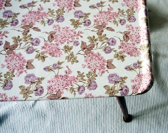 Upcycled Retro vintage mid century coffee table with floral vintage wallpaper