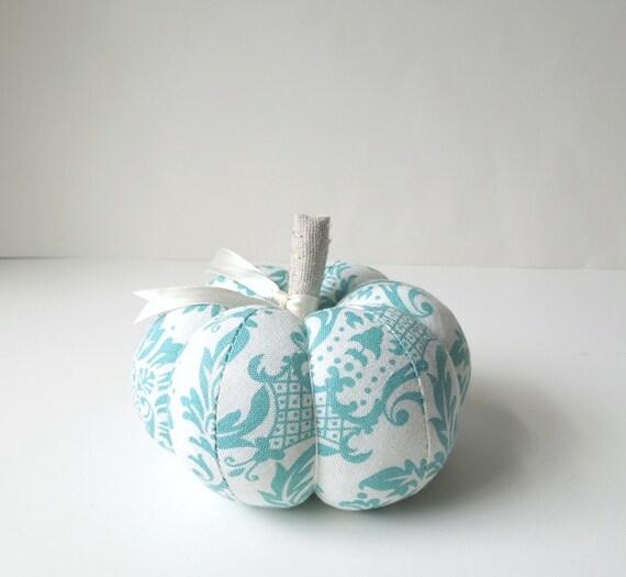 Pumpkin Pincushion with Aqua Blue and White Design