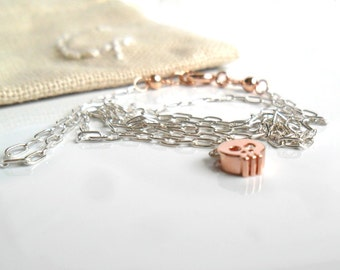 Tiny Rose gold skull necklace /  simple everyday jewelry  / mixed metal / Minimal / Dainty necklace with Personalized pouch