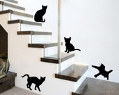Vinyl Wall Decal Silhouettes - Set of 4 Cute Playful Kitties Black Cats