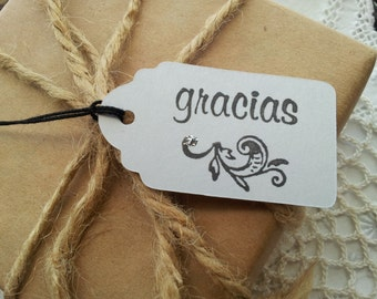 Gracias Thank You Vintage Inspired Tags Set of 25