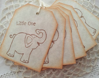 Baby Shower Tags Little Elephant Its a Boy or Girl Hang Tags Set of 6