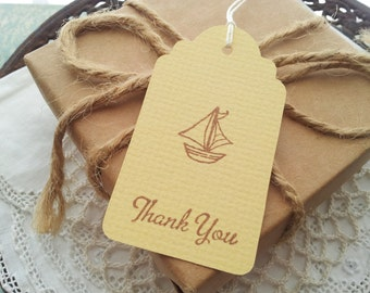 Sailboat Thank You Tags Birthday or Baby Shower Sail Boat Tags Set of 24 LAST SET LEFT